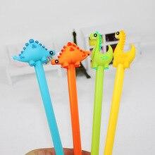 48 قطعة/المجموعة الإبداعية القرطاسية الطلاب استخدام لطيف الديناصور الصغير هلام القلم الكرتون الأسود مكتب قلم توقيع