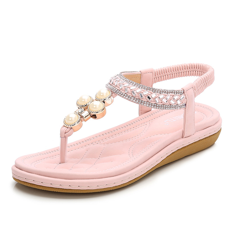 Las mujeres sandalias casuales de moda de verano dulce bohemia zapatos con perlas sandalias de playa-in Sandalias de mujer from zapatos    1