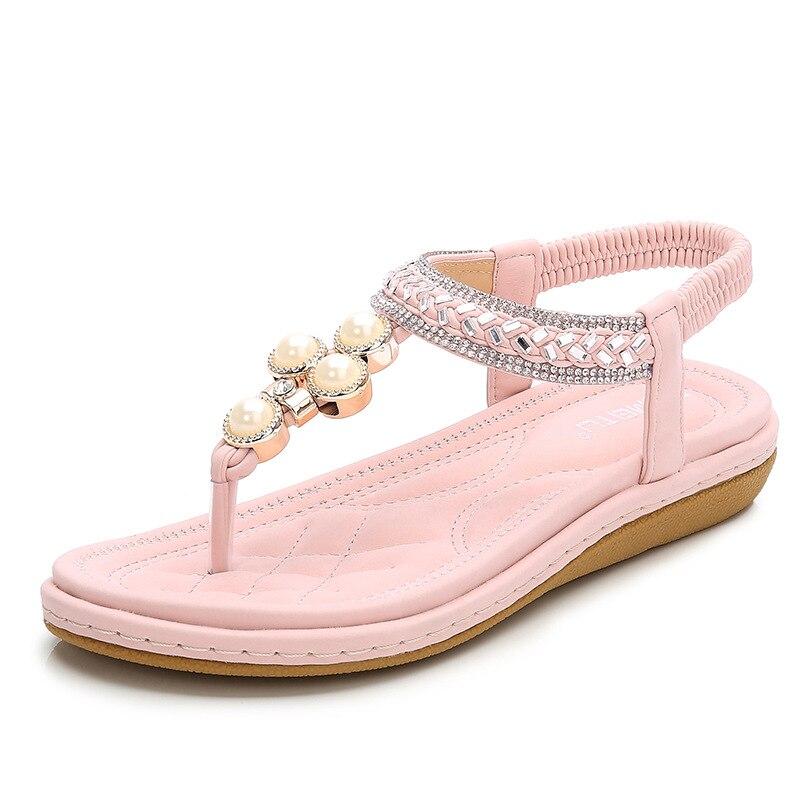 Sandali delle donne casuali di modo di estate dolce della boemia scarpe con perle sandali da spiaggiaSandali delle donne casuali di modo di estate dolce della boemia scarpe con perle sandali da spiaggia