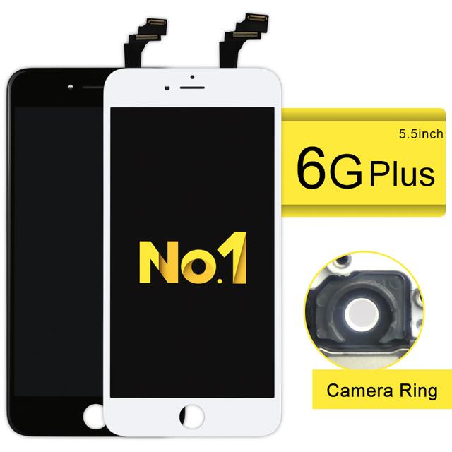 Alibaba china de reparación de piezas de reemplazo al por mayor para iphone 6 plus pantalla lcd y digitalizador asamblea + soporte de la cámara