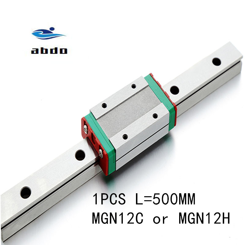 1pcs 12mm Linear Guide MGN12 L= 500mm linear rail way + MGN12C or MGN12H Long linear carriage for CNC XYZ Axis|Linear Guides| |  - title=