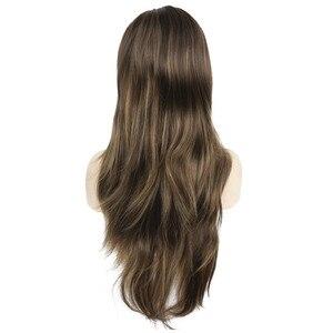 Image 3 - Strongbeauty女性の合成ロングかつらレイヤードストレート髪ダークブラウンブロンドのハイライトとキャップレスかつら