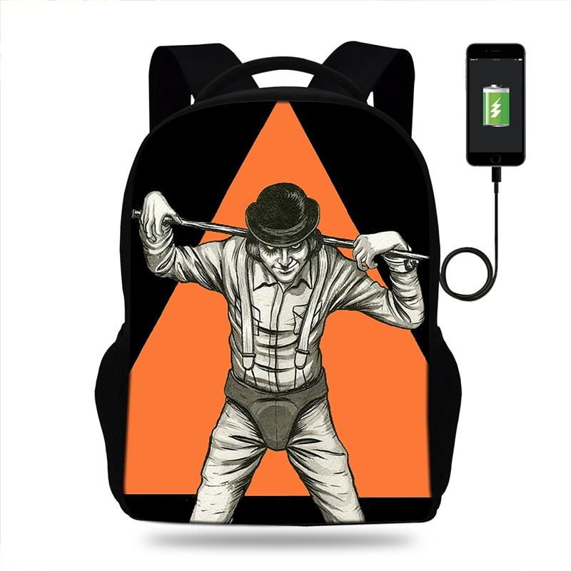 Oxford Backpack A Clockwork Orange Mens High School Backpacks Schoolbag For Teenagers Student Book Bag Boys Satchel School Bags