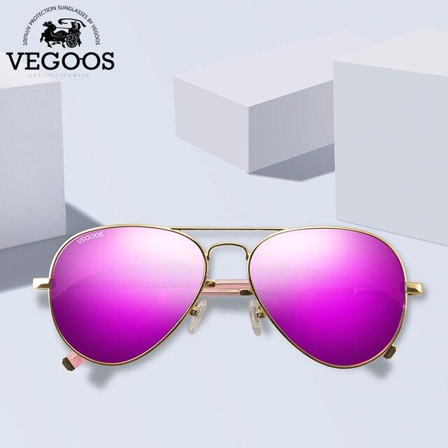 VEGOOS Aviation Mirrored Sunglasses Women Vintage Polarized UV400 Protection Fashion Metal Frame Driving Sun Glasses Pink #3025W