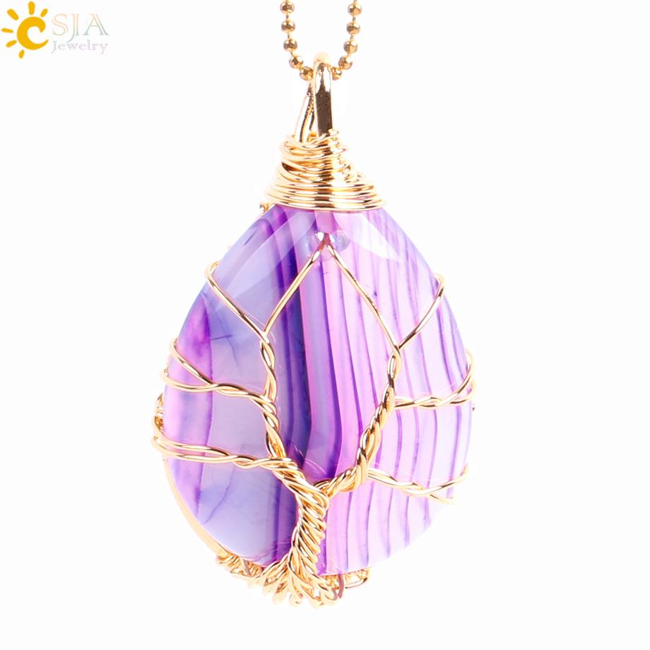 Ожерелье в форме капли воды csja e806 колье с натуральным драгоценным