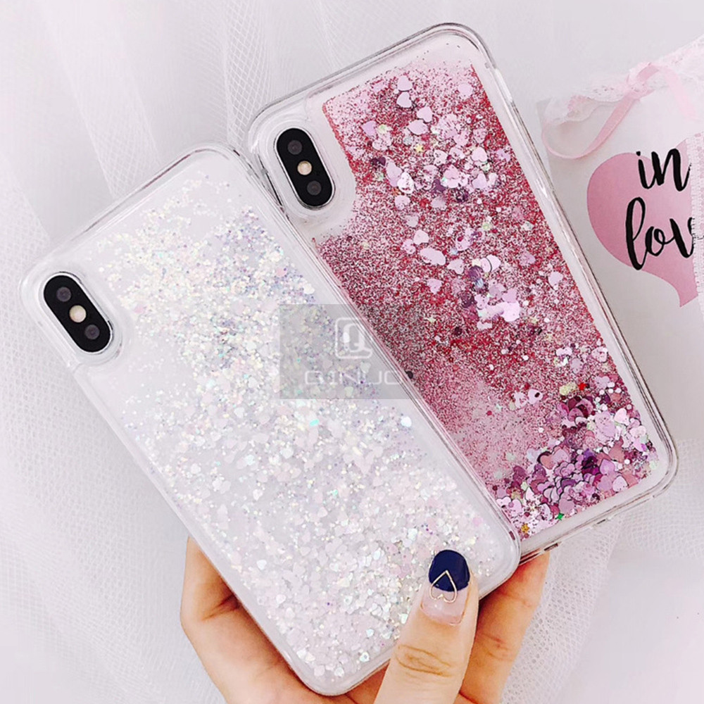 HTB1WqTzXPzuK1RjSspeq6ziHVXa2 - QINUO Love Heart Glitter Phone Case For iphone 11 Pro Max X XR XS MAX 6S 6 7 8 5 5S SE Liquid Quicksand Bling Sequin Cover