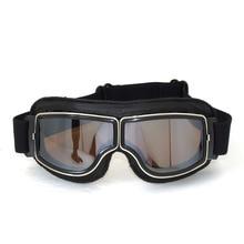 Alta calidad MJMOTO Estrenar gafas de Piloto de Motos Cruiser motocicleta de la Vendimia Marco Gafas de Lentes Claros Gafas de Cuero negro
