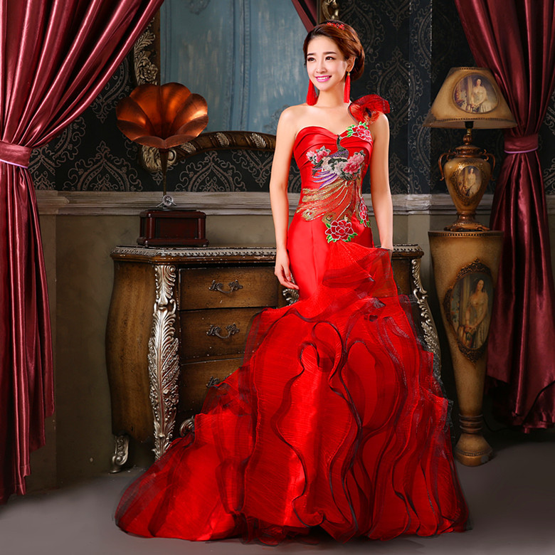 Evening Dresses 2019 Modern Sexy Party Dress Long Cheongsam Chinese Traditional Wedding Qipao Red Mermaid Trailing