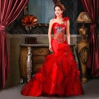 7c636ae6712 Evening Dresses 2019 Modern Sexy Party Dress Long Cheongsam Chinese  Traditional Wedding Qipao Red Mermaid Trailing