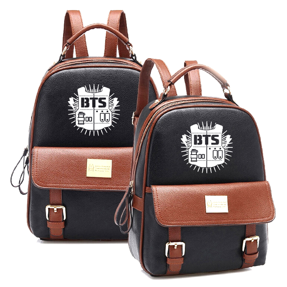 2018 Hot Sales Korean KPOP Bangtan BTS PU Backpack Mochila Student Boys Bag Girls Schoolbag Women Backpacks for Kpop group fans [pcmos] 2017 hot kpop bts bangtan boys army bomb ver 2 light stick a limited edition concert lamp fans gift collection 17031664