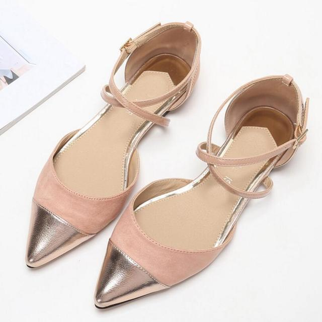 gold leather pointed toe flat sandals