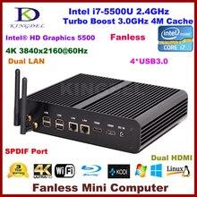 Безвентиляторный Mini PC Intel 5-го Поколения Core i7 5500U 5600U Мини-Компьютер Windows 10 4 К HD HTPC Box PC 2 * HDMI 2 * LAN Mini Desktop PC