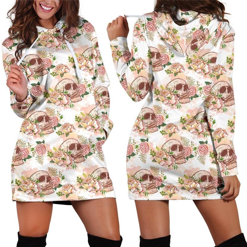 PüNktlich S-3xl Floral Schädel Mit Kapuze Kleid Frauen Herbst Winter Plus Größe Langarm Hoodies Sweatshirt 2019 Mode Hip Hop 3d Kleidung Mutter & Kinder