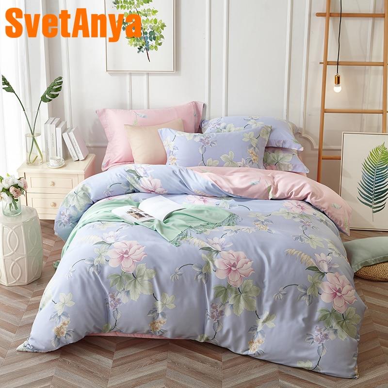 Svetanya Soft Artificial Silk Bedsheet Pillowcase Duvet Cover Sets Flower Print Bedding Set Bedlinen Queen Double King Size