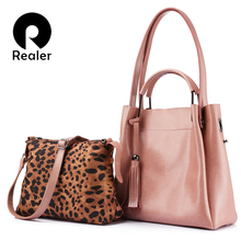 REALER Brand women handbag high quality cow split leather to