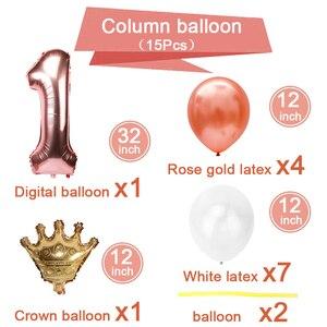 Image 5 - Pour premier anniversaire, décoration pour garçon et fille, décoration en or Rose, pour anniversaire, fournitures pour enfants et adultes, pour 1er an
