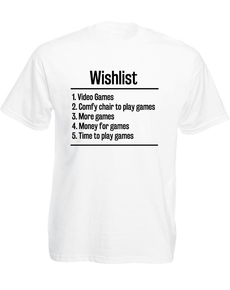 T Shirt Casual Cotton Sleeve Streetwearvideo Games Wishlist, Mens Printed T-Shirt O-Neck Men Short Funny T Shirt