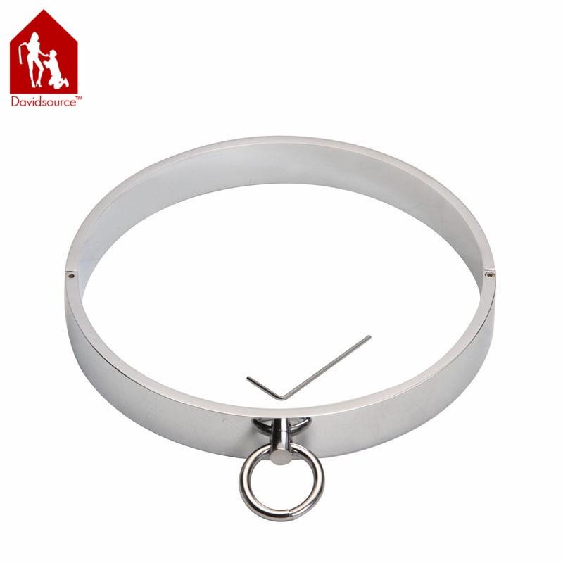 Davidsource Stainless Steel Metal Lockable Neck Collar Restraint Locking Slave Sex Product  Adult Sex Toy