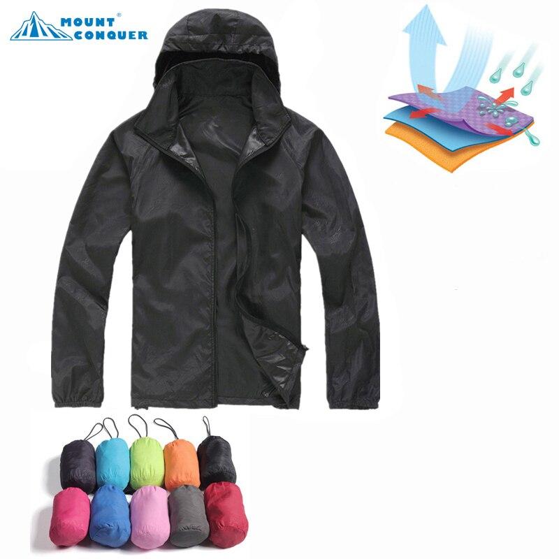 2017 Camping Trekking Windjacke Neue Männer Frauen Wandern Jacke Outdoor Sports Quick Dry Marke Kleidung Wasserdicht UV Haut Mäntel