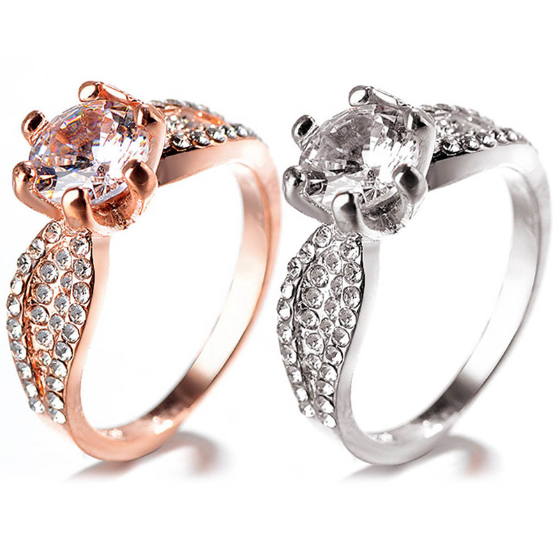 Retro Six Claws White Zircon Ring Copper Rose Gold/Sliver Color Ring Jewelry For Ladies Gifts