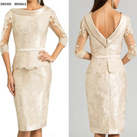 Scoop Lace Half Sleeves Mother of the Bride Dresses Sheath Knee Length Vestido De Madrinha Short Dress Bridal