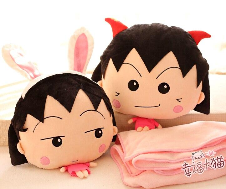 Cadeau 1 pc 180 cm Sakura momoko chi-bi Maruko corail velours voiture climatisation bébé couverture + coussin créatif cadeau en peluche