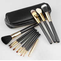 Professional Cosmetics Makeup Brush Set 12Pcs Brushes Cosmetic Kit Leather Bag Pouch Brand Make UP Tool