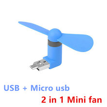 2 in 1 mini cool tragbare power usb fan micro usb fans gadget tester für htc lg oppo android handy 18650 energienbank(China)