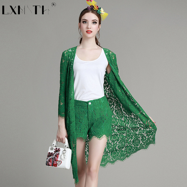 Shipping Today Lace Suits For Women Slim 3 Piece Set Women Cardigan+Camisoles+Shorts Hollow Out Female Set Solid Ladies Suit 2XL