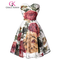 Grace Karin High Quality Pattern Floral Short Bridesmaid Dresses Chiffon Sweetheart Vestidos De Dama Sexy Party