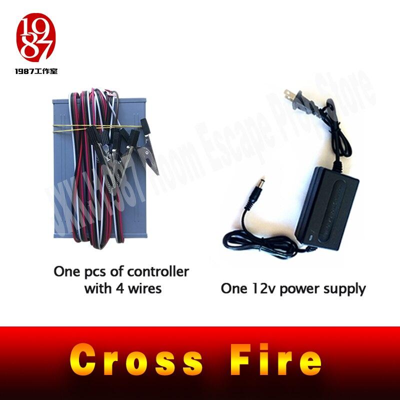 Image 5 - Pokój ucieczka gra puzzle cross fire prop zachować metalowy pierścień crossing, aby śledzić, aby odblokować zapobiegający oszustwom żelazny pierścień prowadnicy jxkj1987Zestawy systemów alarmowych   -