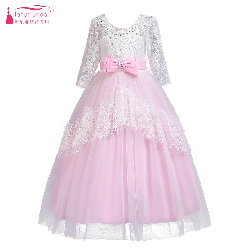 6-13 Half Sleeves Floor Length   Flower     Girls     Dresses   Lace V Back Wedding Party   Dress   Kids Pageant Formal Occasion Gown DQG428