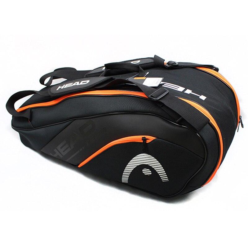 Bolso de raqueta de tenis con cabeza de adulto para 6-9 raqueta hombres mujeres al aire libre bolso de deportes llevar mochila con bolsa de zapatos de alta calidad