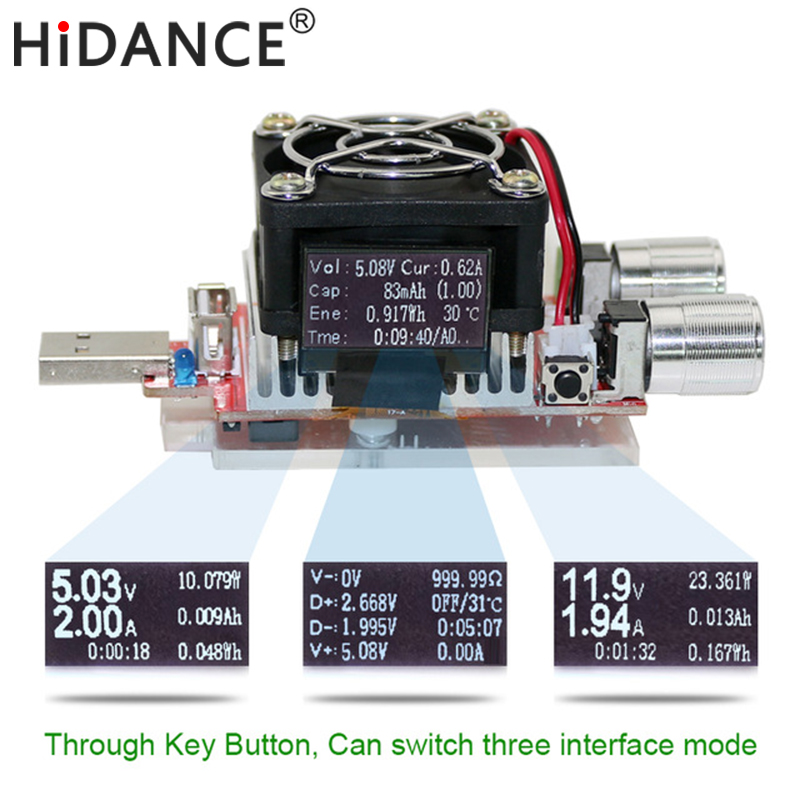35w usb tester electronic load adjustable constant current aging resistor voltage capacity qualcomm qc2.0/3.0 battery voltmeter