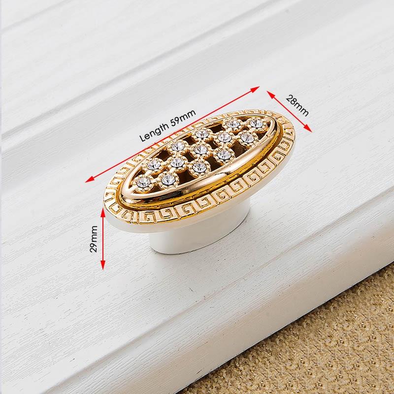 KAK хрустальные золотые дверные ручки с бриллиантами, роскошные цинковые ручки для ящика шкафа, европейские ручки для шкафа, мебельные ручки - Цвет: Handle-803G