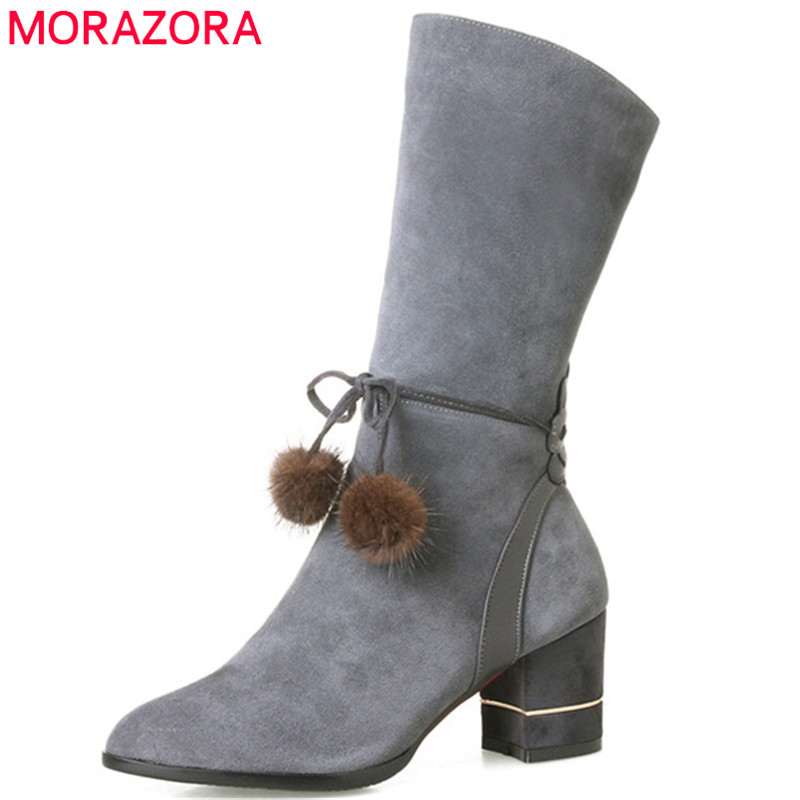 MORAZORA 2018 Half boots in spring autumn high heels shoes woman mid calf boots pointed toe fashion shoes big size 34-40 double buckle cross straps mid calf boots