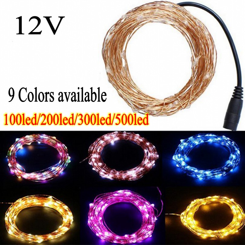 50M 30M 20M 10M DC12V Led Fairy String Lights Waterproof Outdoor Silver Copper Wire Christmas Festival Wedding Party Decoration