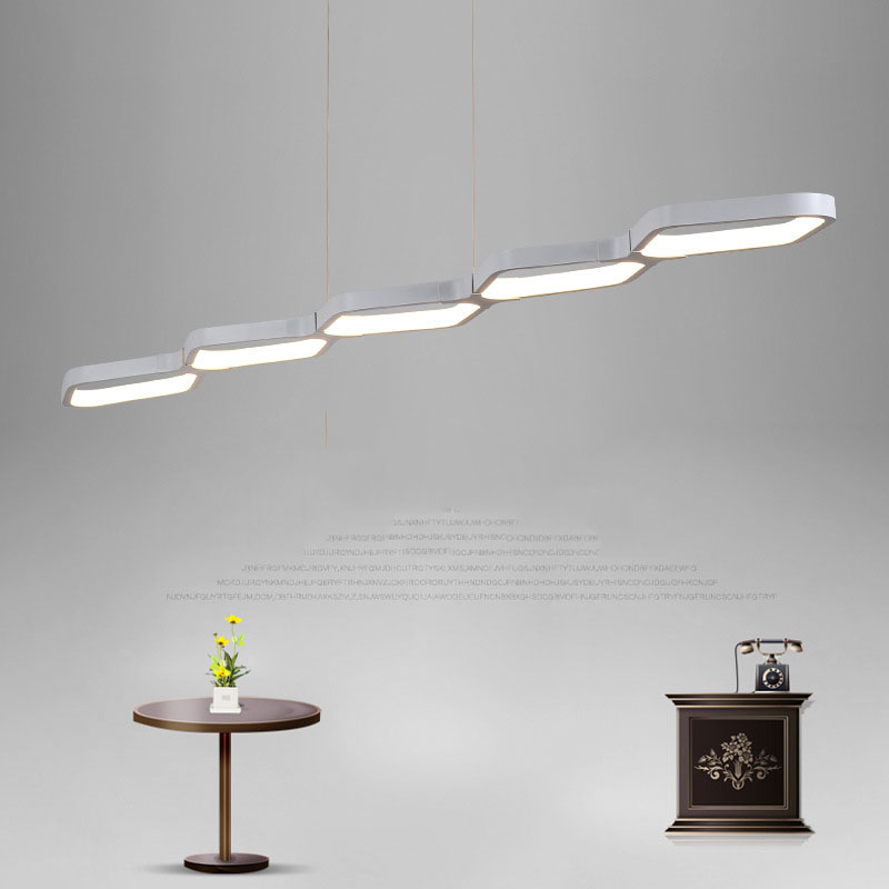 Modern Dining Room LED Pendant Light Kitchen Suspension Hanging Lamp Black White Aluminum Lamp Indoor Home Lighting Fixture