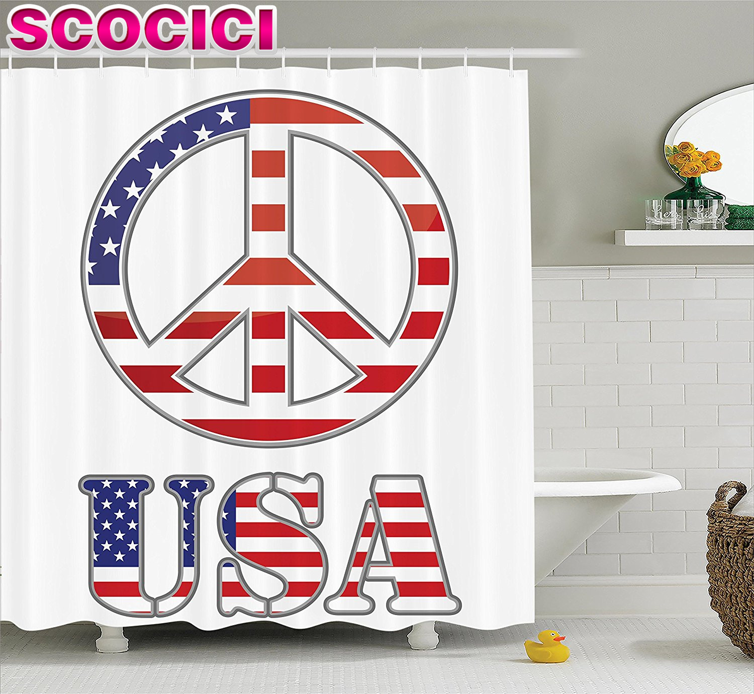 Groovy Decorations Shower Curtain Set Modern Peace Sign With USA Flag Color  Design Hippie Freedom No