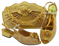 Gold Color Italian Shoes with Matching Bag Set Decorated with Appliques African Women Slippers and Bag Set for Wedding Party
