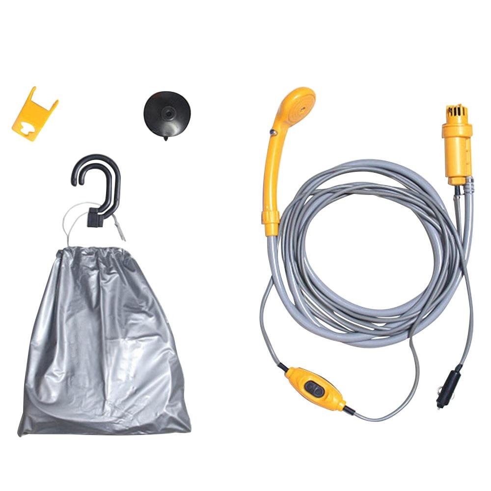 Qiilu 12V Bomba de agua Port/átil Kit de lavado de ducha de coche el/éctrico para Al aire libre Caravana C/ámping Viajar
