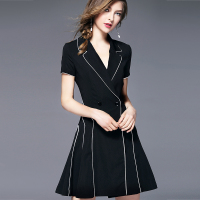 Short Sleeve Slim OL Professional Black Dress Female Summer Temperament Was Thin Waist A Word Large