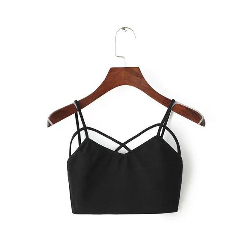 Cross Sexy Wrapped Chest Summer Women Crop Top Bandage Tops Sleeveless Cotton Sexy Hollow Out Ladies Boho Camis