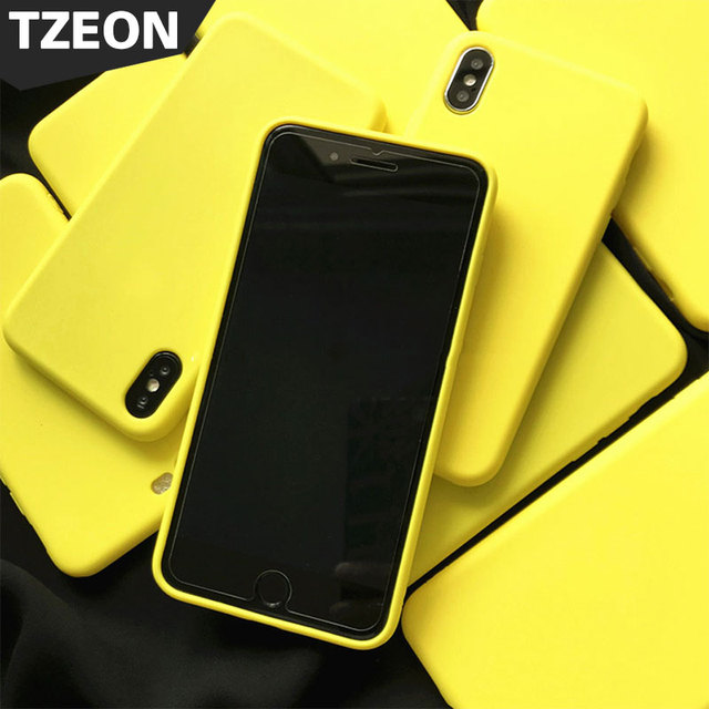 sports shoes f25ca 048e8 US $3.99 20% OFF|Candy colors soft Case for iPhone X 8 7 6S 6 Plus Lemon  yellow Coque Cover Good baby Skin feel Back Cover for Apple iPhone 8Plus-in  ...