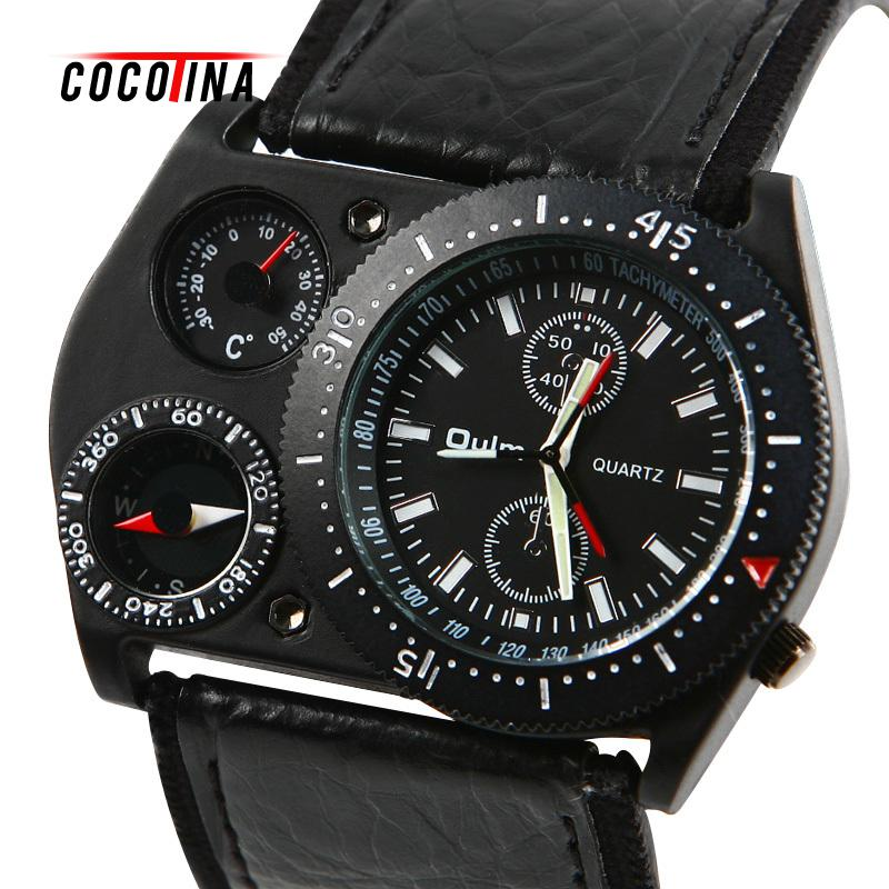 COCOTINA men Military Army Big Dial Round Analog Quartz Wrist Watch Cool Leather Sports Hours wrist