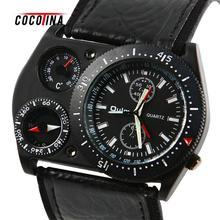 Cocotina hommes militaire armée grand cadran rond analogique quartz montre-bracelet cool sport en cuir heures montre-bracelet # l05520