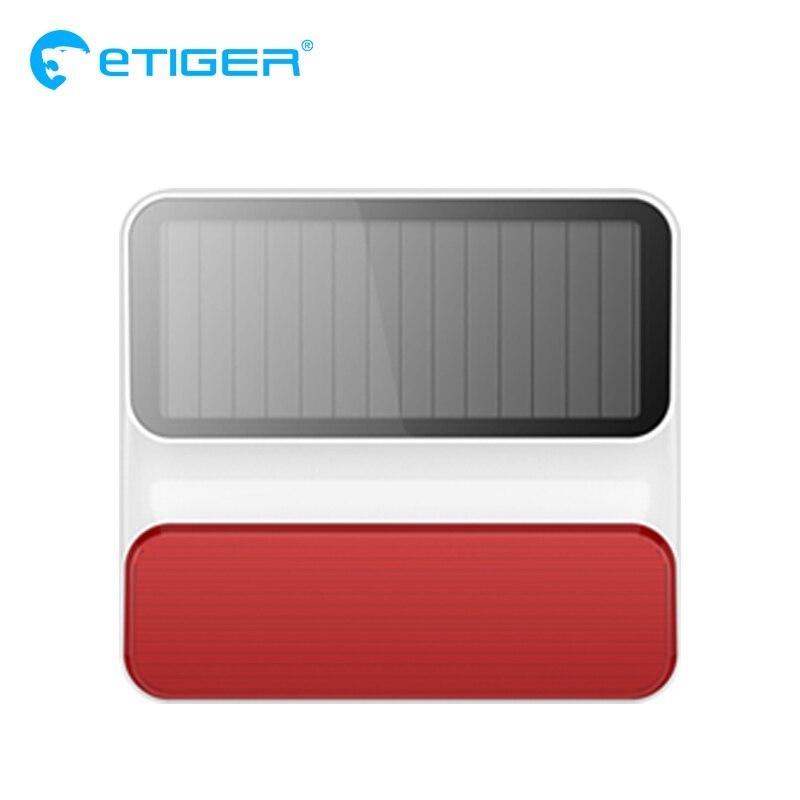 Sirène stroboscopique solaire extérieure sans fil Etiger ES-S8A extérieure sans fil pour système d'alarme S4/S3 G90B plus