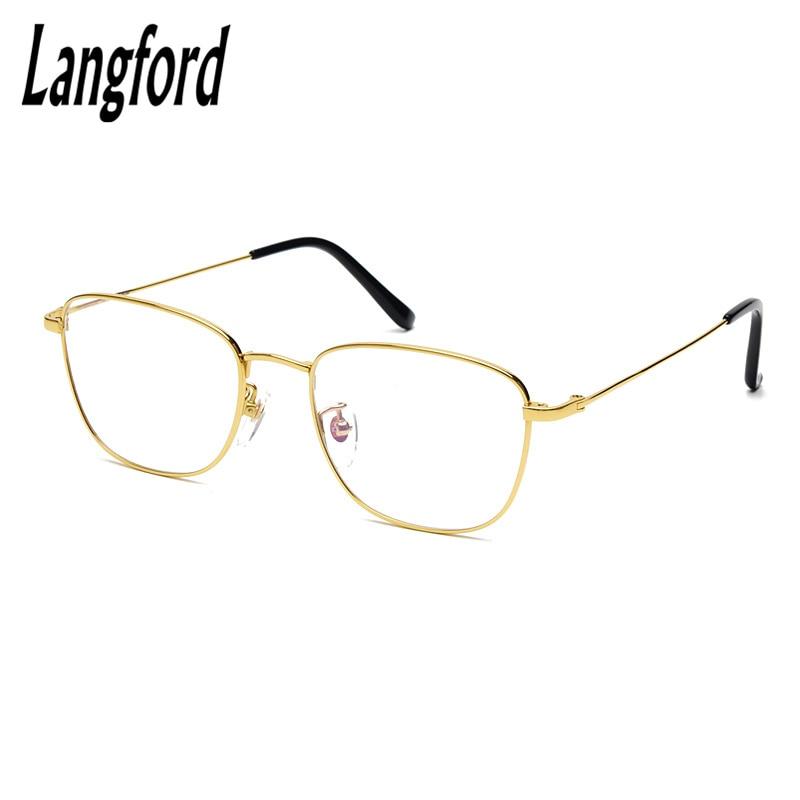 c0ee57c848 Online Shop langford optical frames brand men titanium gold round eyeglass  frames for men frame eyeglasses frame optical glasses 40mm height