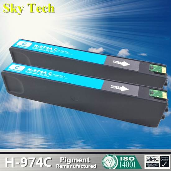 2pcs Cyan Pigment Ink Cartridge For HP974A , 974AC For HP PageWide 352dw 377dw 452dw 477dw 552dw 577dw P55250dw P57750dw etc