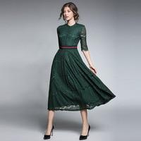 Fall Green Black Hook Flowers Stitching Lace Dresses Female Half Sleeve Sashes Elegant Fashion Aline Rushed